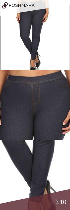 Plus Size. Denim Looking Leggings Stretch new CONDITIONNEW WITH TAGS MATERIAL95 %POLYESTER, 5 %SPANDEX LENGTHFULL LENGTH Lined on the inside with fleece for extra soft  Elastic waistband Soft and stretchy material Jean like stitching throughout new arrival ptestiageplus Pants Leggings