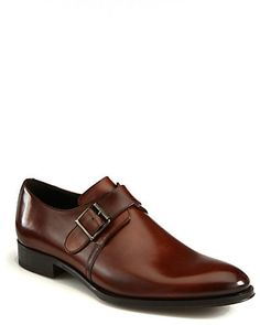 $395, Brown Leather Monks: To Boot New York Campbell Single Monk Strap Shoes. Sold by Saks Fifth Avenue. Click for more info: http://lookastic.com/men/shop_items/224241/redirect