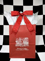 Ashley and William wanted to welcome their wedding guests to Dallas in true Texas-style. Waiting for them in their hotel rooms were these beautiful #weddingguestgiftbags filled with Texas goodies.(I hope there were some pralines).These berry red bags were printed in white ink with Caslon font. The gorgeous #taffetaribbon has metallic threads running through to just give it some extra shimmer & interest. www.FavorsYouKeep.com  -512.323.0600 #DallasWeddingIdeas #weddingwelcomebags…