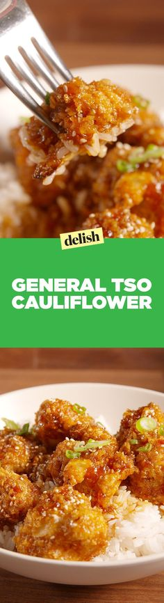 General Tso cauliflower is blowing up on the internet. Get the recipe on Delish.com.