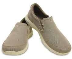This is quite possibly the ultimate casual shoe — with relaxed good looks, capable, versatile style and Triple Crocs comfort™. The mesh uppers are cool and light, and the stretch gore panels make these slip-ons easy to get on and off while delivering a comfortable, secure fit. We've added memory foam pillows inside for that sink-into-it softness right when you step in. And as the day goes on, the comfort keeps coming with a supportive foam footbed and a Croslite™ foam outsole. Try them on…