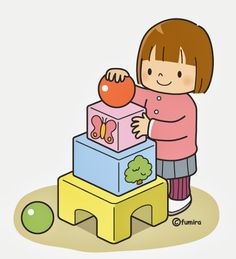 She likes to build things with her blocks. Clipart Baby, Cute Clipart, Cartoon Kids, Cute Cartoon, Sequencing Pictures, Kindergarten, Diy For Kids, Cute Pictures, Preschool