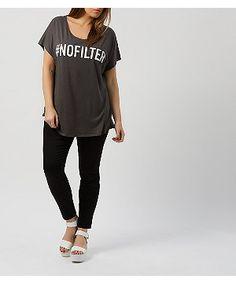 Inspire Dark Grey No Filter T-Shirt  | New Look