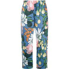 Marni floral print trousers (25965 TWD) ❤ liked on Polyvore featuring pants, blue, blue trousers, floral print pants, blue crop pants, loose fit pants and flower print pants
