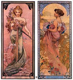Alphonse Mucha The seasons (Spring, Summer), 1897