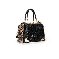 $12.54 Fashion Style Women's Tote Bag With Sequins and Leopard Print Design