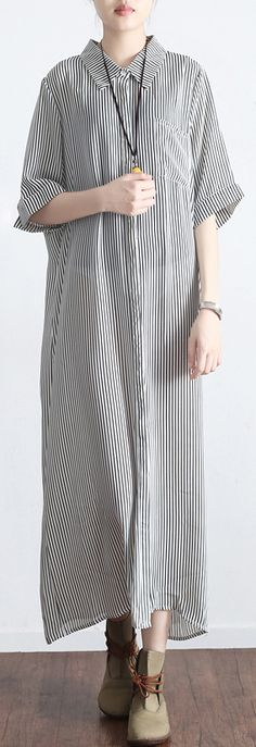 original light gray striped silk linen turn-down collar maxi dress