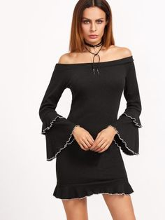 Black Ribbed Knit Off The Shoulder Ruffle Dress