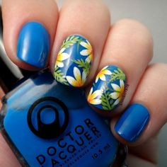 Instagram media by kimiko7878 - This is 'Phycocyanin' from @doctorlacquer. It is a buildable jelly with a fantastic formula. I have it here on it's own, 3 coats without a white base. As always the design was hand painted with acrylic paint. #doctorlacquer