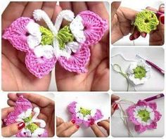 how to make butterfly crochet video tutorials Crochet Butterfly Free Pattern, Crochet Lace Edging, Crochet Leaves, Crochet Stitches Patterns, Crochet Flowers, Crochet Bear, Crochet Gifts, Crochet Videos, Crochet Projects