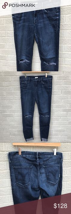 "Mother The Looker Denim Aka Goddess Mother Denim - The Looker - Aka Goddess! Holes at the knees & frayed raw uneven hemline! Great dark wash & super thin & lightweight! Size 32. Length is 38.5"" & 16.5"" across the waist. Previously loved. 2 Small White discolorations its the wash, please see 6th photo. BR1794091517 MOTHER Jeans"