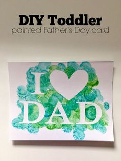 DIY Toddler Painted Father's Day Card day photos 7 super-easy kid projects for Father's Day Diy Father's Day Crafts, Dad Crafts, Father's Day Diy, Craft Stick Crafts, Fathers Day Craft Toddler, Fathers Day Art, Fathers Day Crafts Preschool, Homemade Fathers Day Card, Baby Fathers Day Gift