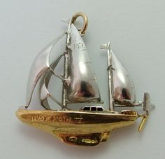 Large 1960's Two Colour 9ct Gold Gypsy Moth IV Sailing Yacht Boat Charm