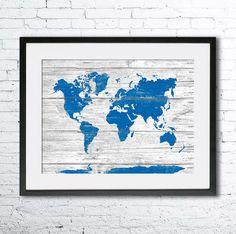 Kaart van de wereld op houtstructuur Art Print, Wall Decor, Rustiek Decor van de kunst, reiziger kaart Explorer geschenk, kaart van de wereld op een houten plank, de rustieke Wall Art