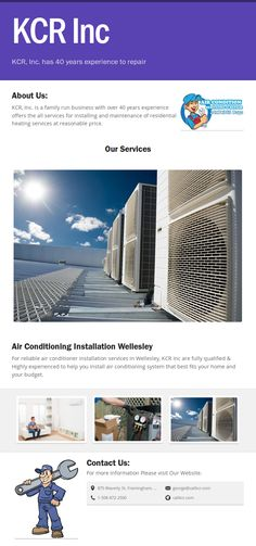 For reliable air conditioner installation services in Wellesley, KCR Inc are fully qualified & Highly experienced to help you install air conditioning system that best fits your home and your budget. Air Conditioning Services, Air Conditioning System, Ac Maintenance, Air Conditioning Installation, Conditioner, Commercial, Budget, Budgeting