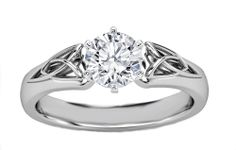 Engagement Ring - Round Diamond Triquetra Celtic Engagement Ring in White Gold - When To Get Wedding Rings Celtic Engagement Rings, Celtic Wedding Rings, Round Diamond Engagement Rings, Diamond Wedding Rings, Vintage Engagement Rings, Solitaire Engagement, Wedding Band, Solitaire Rings, Wedding Sets