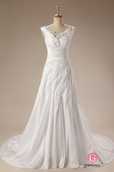 Only $189.99, Wedding Dresses A-Line V-neck Court Train Satin Wedding Dress With Beading Appliques Lace #CH0052 at #GemGrace. View more special Wedding Dresses,Wedding Dresses for Older Brides,Simple Wedding Dresses now? GemGrace is a solution for those who want to buy delicate gowns with affordable prices, a solution for those who have unique ideas about their gowns. Find out more>>