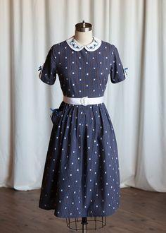 lovely brown + blue girls dress with pocket and bow details || vintage 50s girls / teen dress 1950s girls  | by TwoOldBeans
