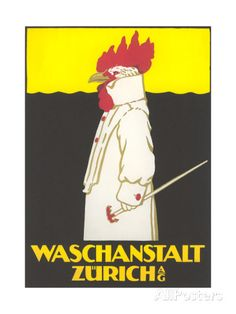 Poster for Zurich Laundry Service with Rooster Giclée-Druck