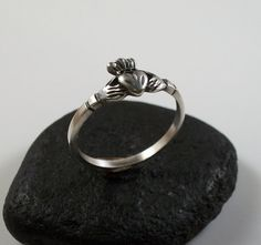 Sterling silver Claddagh ring, afforable sterling silver, heart with hands and crown ring.