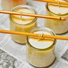 Glass yogurt jars are perfect to use as candle containers and these diy beeswax candles make great gifts candlesdecorationchristmas Candle Containers, Candle Jars, Mason Jars, Homemade Candles, Diy Candles, Candle Decorations, Diy Candle Holders, Crafts With Glass Jars, Jar Crafts