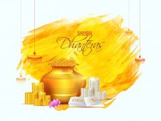 Shubh (Happy) Dhanteras poster or greeting card design with golden wealth pot, coin stack and holy book on brush stroke background. Diwali Pictures, Diwali Images, Dhanteras Images, Happy Dhanteras Wishes, Free Psd Flyer Templates, Golden Background, Golden Design, Happy Diwali, Brush Strokes