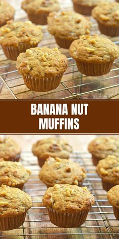 Recipes Snacks Muffins Banana Nut Muffins that taste like they came straight out of your favorite bakery! Moist, tender and bursting with fresh banana flavor and warm cinnamon, they're the perfect breakfast or snack treat. Muffin Recipes, Brunch Recipes, Baking Recipes, Cake Recipes, Breakfast Recipes, Dessert Recipes, Desserts, Bread Recipes, Healthy Recipes