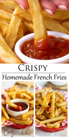 Weight Watchers Recipes Discover Homemade French Fries - Baked or Fried! Theese extra crispy Homemade French Fries can be baked in the oven or prepared in a deep fryer with oil! Theyre easy to make and are a fun side dish idea! Deep Fried French Fries, Oven Baked French Fries, Best French Fries, Making French Fries, French Fries Recipe, Homemade French Fries, Homemade Fries In Oven, Deep Fryer Recipes, Zucchini