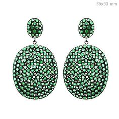 24.80ct Emerald Vintage Look 14K Gold Sterling Silver Dangle Earrings Jewelry #raj_jewels