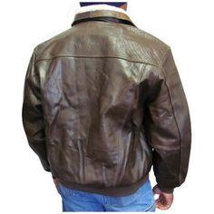 Distressed Brown Leather Bomber Jacket (Men's) (#299-2) J...
