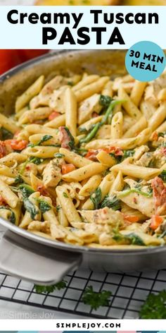 Tuscan Chicken Pasta is a delicious easy dinner that comes together in 30 minutes on the stovetop. Your family will love the rich flavors of this fast dinner. Wheat Pasta Recipes, Yummy Pasta Recipes, Chicken Pasta Recipes, Great Recipes, Dinner Recipes, Different Chicken Recipes, Tuscan Chicken Pasta, 30 Min Meals, Whole Wheat Pasta