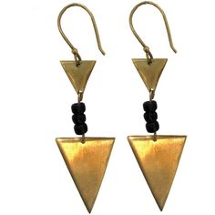 Future Nature Fairtrade Triangle Bead Earrings Gold ($16) ❤ liked on Polyvore featuring jewelry, earrings, accessories, beaded jewelry, gold jewelry, beading earrings, yellow gold jewelry and bead jewellery
