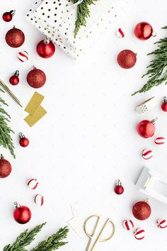 Styled stock photography desk image featuring red holiday decor on a white background. Stock images for creative business owners, bloggers, & photographers.