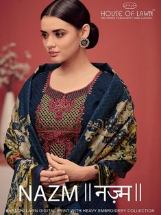 House of Lawn Nazm Digital Printed Karachi Lawn Cotton with embroidery Work Dress Material at Wholesale Rate Kurti Sleeves Design, Sleeves Designs For Dresses, Kurti Neck Designs, Sleeve Designs, Indian Ladies Dress, Designer Blouse Patterns, Suit Fabric, Lawn Suits, Fashion Seasons
