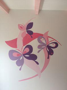 Muurschildering vlinders meisjeskamer