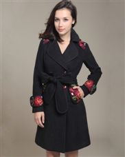 Jum July Embroider Solid Single Breasted Wool Blends Women Coat