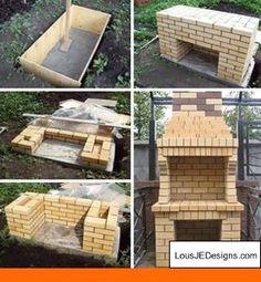 46 Ideas For Backyard Patio Kitchen Bricks Backyard Hammock, Backyard Sheds, Fire Pit Backyard, Backyard Patio, Brick Grill, Patio Grill, Parrilla Exterior, Outside Fireplace, Patio Kitchen