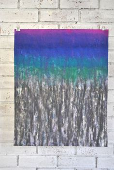"""Abstract drawing on paper with charcoal and soft pastels 16x20"""" Ombre Rain - pinned by pin4etsy.com"""