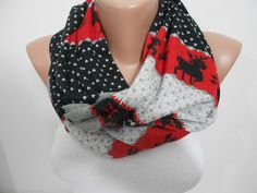 Nordic infinity scarf Deer print scarf Warm loop scarf Circle sweater scarf Christmas scarf Christmas gifts for her Red gray scarf SCARFCLUB