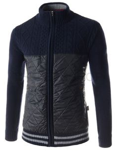 (SGJ02-NAVY) Mens Turtle Neck Front Quilting Patch Zip-up Knitted Long Sleeve Jacket