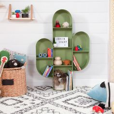 Keep your babes room looking sharp with the Cactus Bookcase. Its varying compartment sizes provide space for displaying décor, books, toys and treasures. Made with powder coated steel, it is a sturdy bookcase that is sized for both toddlers and big kids. Cactus Bedroom, Decoration Cactus, Tree Bookcase, Bookshelves, Kids Bedroom, Bedroom Decor, Nursery Works, Glider And Ottoman, My New Room