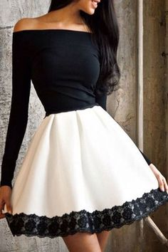 Off-The-Shoulder Color Block Fit And Flare Dress WHITE AND BLACK: Long Sleeve Dresses | ZAFUL