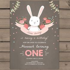 Some Bunny Birthday Invitation Spring by Anietillustration on Etsy