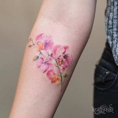 Watercolor Orchid Flower Tattoo Idea for Arm
