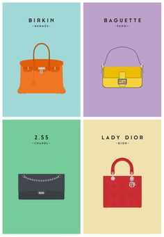 Minimalist illustrations showcasing the worlds most iconic designer handbags.