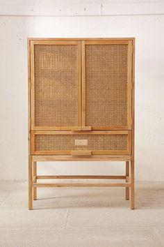 Marte Storage Cabinet - home - Design Rattan Furniture Cane Furniture, Furniture Design, Apartment Furniture, Furniture Storage, Wood Storage, Storage Shelves, Furniture Ideas, Storage Cabinets, Cheap Furniture