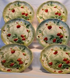 "Wonderful Set of 6 French Majolica 8 7/8"" Plates with Red Ripe Strawberries ~ Boulenger Choisy-le-Roi, France 1860-1914"