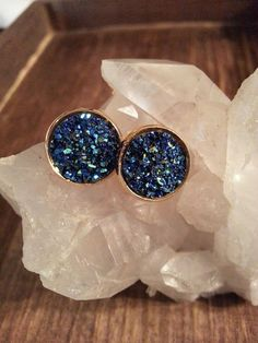Druzy Blue Stud Earrings Gold Studs Druzy Jewelry Iridescent Nickel Free