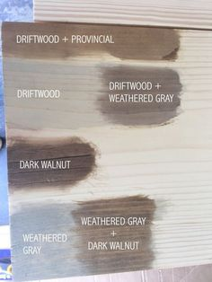Minwax Wood Stain Samples, Rust-Oleum Wood Stain S Minwax Wood Stain, Weathered Grey Stain, Minwax Stain Colors, Dark Walnut Stain, How To Stain Wood, Weathered Oak Minwax, Pine Stain Colors, Exterior Wood Stain Colors, Cabinet Stain Colors