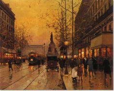 Edouard Leon Cortes - Parisian Street Scene Painting